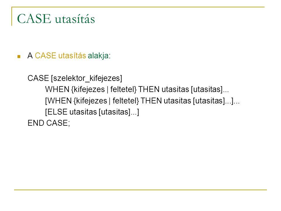 CASE utasítás A CASE utasítás alakja: CASE [szelektor_kifejezes]